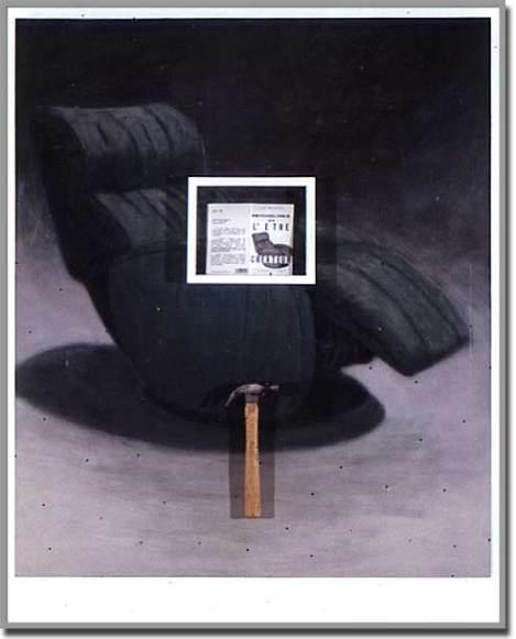 Réflexion / intimité. Acrylique, livre et marteau sur bois - 60 x 48 pouces - 1991
