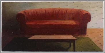 Réflexion / confort. Acrylique et clous sur bois - 48 x 96 pouces - 1990