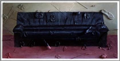 Réflexion / consommation. Acrylique et déchets sur bois - 48 x 96 pouces - 1990