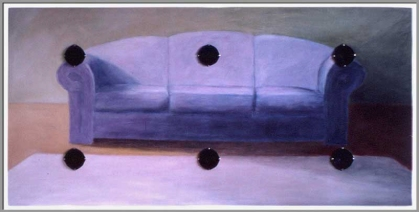 Réflexion / silence. Acrylique et haut-parleurs sur bois - 48 x 96 pouces - 1991