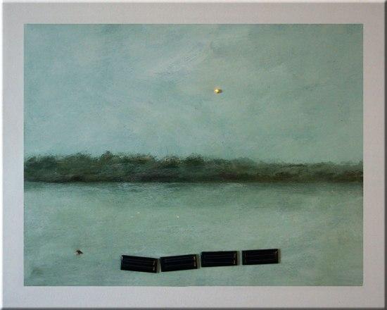 2013, Acrylique et bidules électroniques sur toile, 16 x 20 pouces.