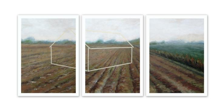 Dans les champs, acrylique sur toile, 3 panneaux de 30 x 40 pouces, 2013