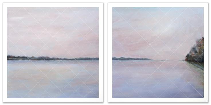La vue en rose, acrylique sur toile, 2 panneaux de 40 x 40 pouces, 2013