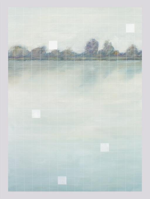 Reflets blancs. Acrylique sur toile, 36 x 48 pouces, 2013