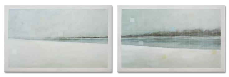 Tons de blanc. Acrylique sur toile, 2 panneaux de 48 x 30 pouces, 2013