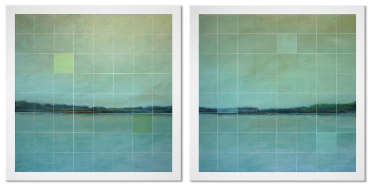 Tons de vert. Acrylique sur toiles, 2 panneaux de 36 X 36 pouces