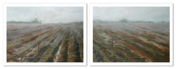 Champs de batailles, acrylique sur toile, 2 panneaux de 48 x 36 pouces, 2013