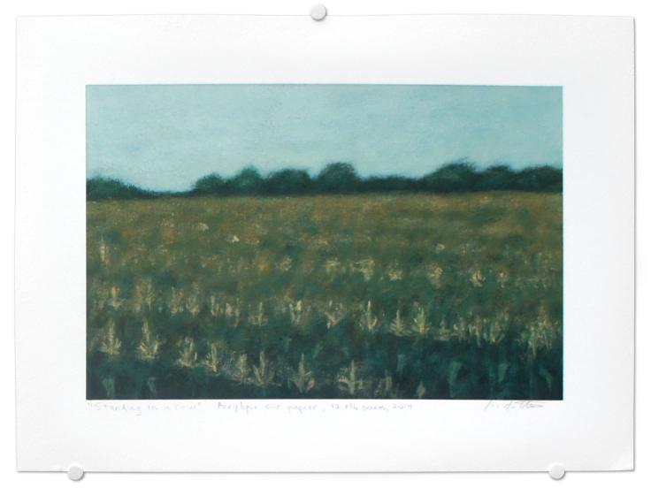 Standing in a row, acrylique sur papier, 12 x 16 pouces, 2014